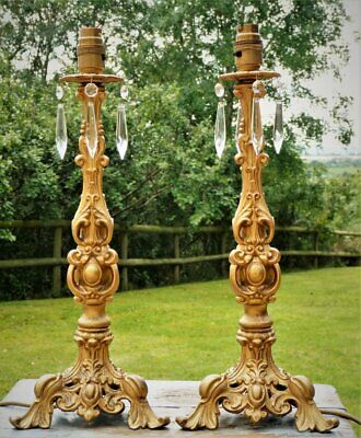 Pair Vintage table lamps French Rococo Baroque Gold & crystal drops Rewired