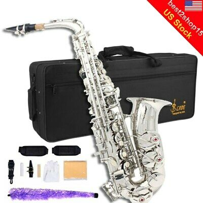 New Professional Eb Alto Sax Saxophone Paint Silver with Carry Case Accessories