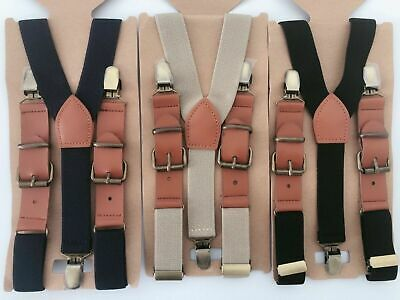 Boys Kids Children Synthetic Leather Metal Clip Pants Braces Suspender Belts