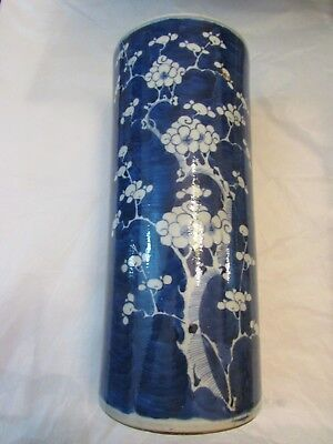 Chinese Antique Qing Dynasty C Blue & White Brush Pot With Prunus Decoration
