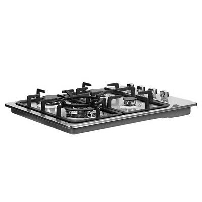 60cm Gas Cooktop Kitchen Stove 4 Burner Cook Top Stainless Steel Silver
