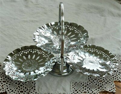Vintage Chrome cake stand folding filigree trays ~ shabby chic teaparty
