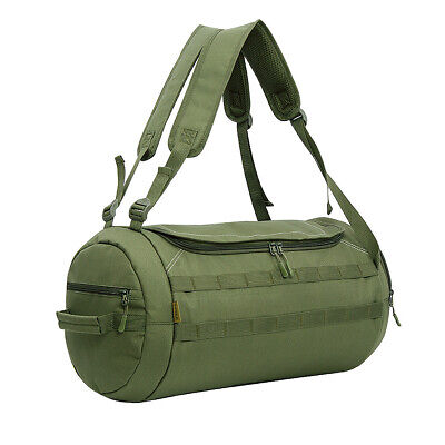 Round Duffle Tactical Military Molle Waterproof Canvas Padded Duffel Bag Travel