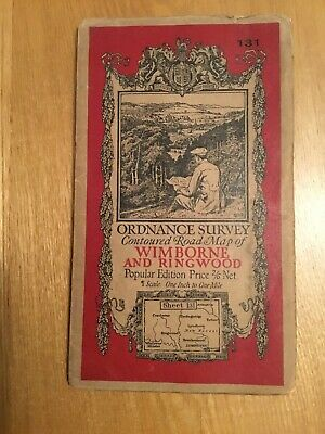 1932 Ordnance Survey One Inch Contoured Road Cloth Map 131 Wimborne And Ringwood
