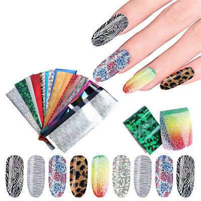24 Sheets Nail Art Foils Laser Shinning Mixed Beauty Transfer Tips Sticker DIY-