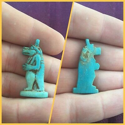 Rare ancient Egyptian blue faience animal amulet, 300 bc