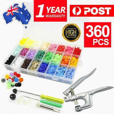 Press Stud Set 360 Sets Snap Kits Craft Buttons Size T5 Snaps Fastener 24 colour