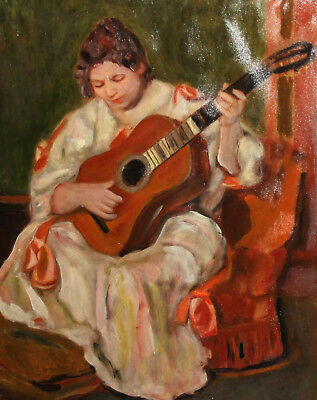Impressionist oil painting woman guitar player portrait