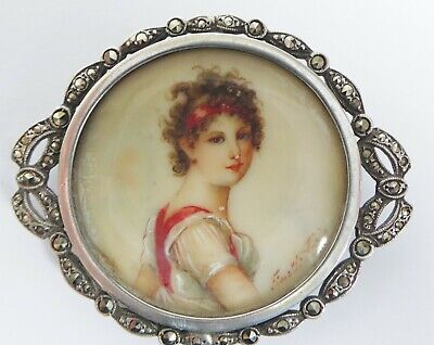 FINE QUALITY 19th CENTURY SILVER & MARCASITE MINIATURE PORTRAIT BROOCH - FRENCH?