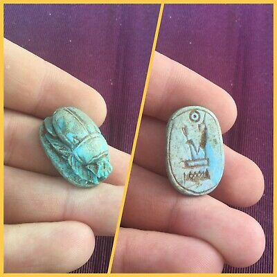 Rare ancient Egyptian blue scarab beetle , 300 bc