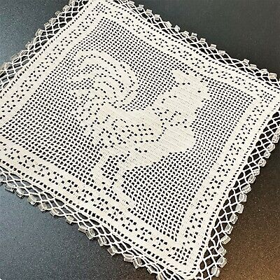 Cockerel Rooster White Filet Lace Square Milk Jug Cover with Clear Glass Beads