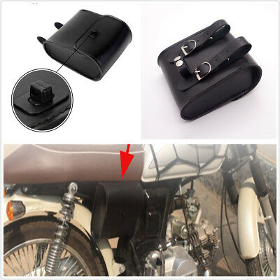 1X Black Motorcycle PU Leather Front Handlebar Side Tool Bag Luggage Saddle Bag