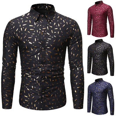 Luxury Mens Long Sleeve Shirts Casual Formal Business Slim Fit Shirt Tops Blouse