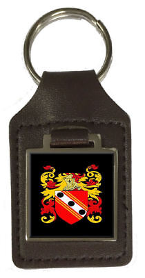 Cannon Heraldry Coat Of Arms Brown Leather Keyring Engraved
