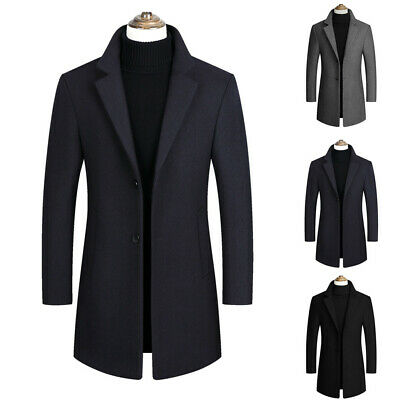 Men's Casual Fashion Slim Fit Trench Coat Business Long Overcoat Jacket Outwear