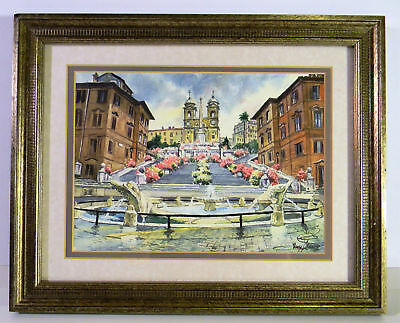 Original watercolor of The Spanish Steps-Rome's most recognizable attraction