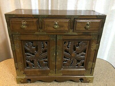 Antique Spice Cabinet 8 Drawer with Carved Doors Box Cupboard Apothecary Chest