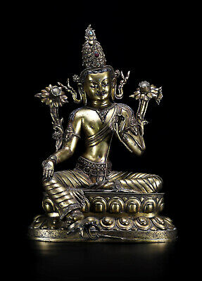 "21"" China Qing Dynasty old antique Nepal bronze gilt gold Green Tara statue"