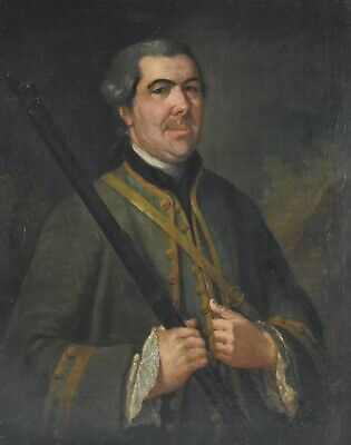 18th Century Oil Painting, Original Nobleman Hunting Portrait, Signed Dated 1758