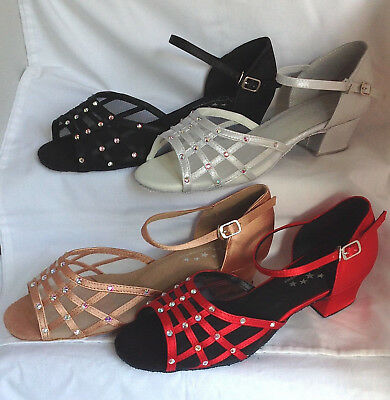 Ladies Black, Red, Tan, Silver Ballroom, Salsa, Latin Dance Shoes - UK Sizes 3-9