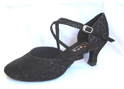 Ladies Black Sparkle Ballroom, Latin, Jive, Salsa Dance Shoes - UK Sizes 3 - 9