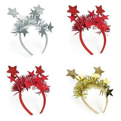 Ladies Girls Silver Star Design Glitter And Tinsel Head Band