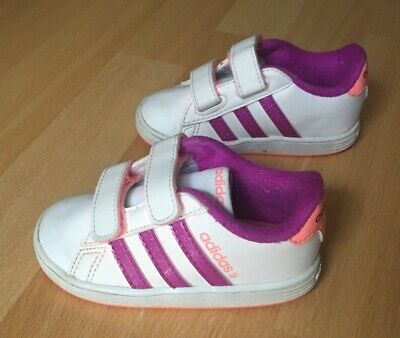 Girls Baby Toddler Adidas Neo Comfort White, Purple And Pink Trainers Size 5k