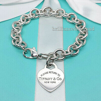 Return to Tiffany & Co. Heart Tag Charm Chain Bracelet 925 Sterling Silver