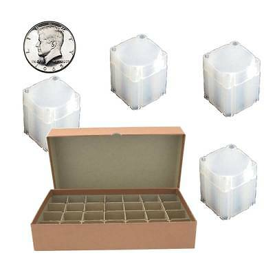 Guardhouse Brown Coin Tube Box with 28 Numis Half Dollar Square coin Tubes