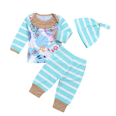 Boy Girl Newborn Clothes Set T-shirt Tops+Long Pants+Hat Long Sleeve Striped