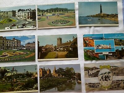 9 vintage colour postcards1954-66. BLACKPOOL, ISLE OF WIGHT, YARMOUTH, MANSFIELD