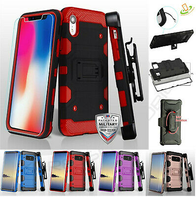 Samsung Galaxy A50 Holster Case Hybrid Shockproof Rugged Cover + Tempered Glass