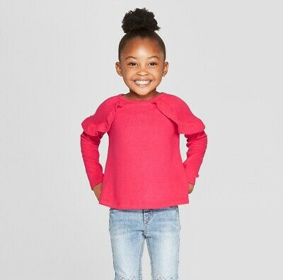 Cat & Jack Toddler Girls' Long Sleeve Cozy Pullover Sweater, Dark Pink  4T