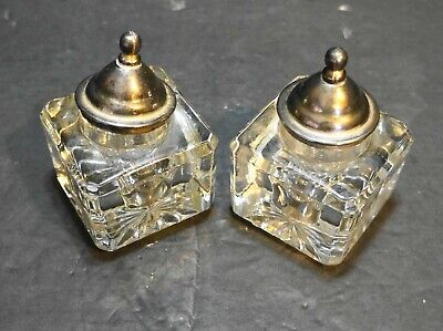 Cut Glass Lead Crystal Square Inkwells Pair Sterling Cap Lids Antique