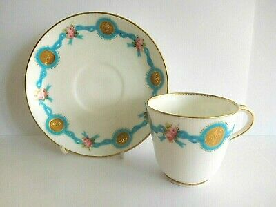 Mid 19Th C Minton Tea Cup And Saucer With  Celeste Blue Ribbons Pink Roses