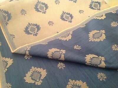 Designer Brocade /Damask Upholstery/CurtainFabric Attractive Blue & Beige Design