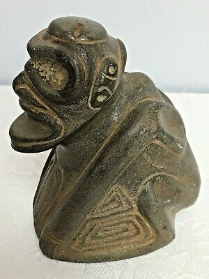 Pre Columbian Taino Zemi Cemi Shamans Stone Idol Statue With Stamp On Bottom