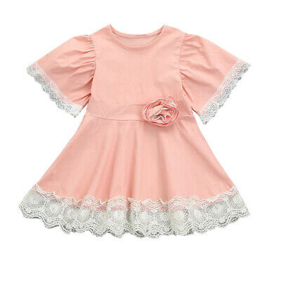 Princess Party Pageant Lace Floral Fairy Pink Baby Girls Dress Short Sleeve