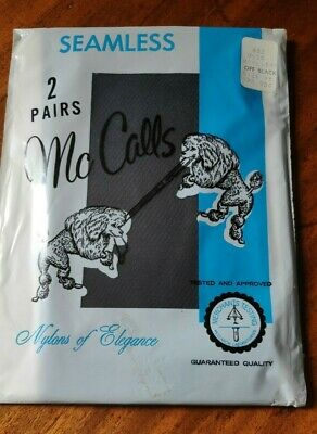 2 Pairs Vintage Sealed Pack Seamless Nylon McCalls Stockings Off Black Size 9.5