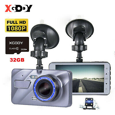 "4"" Car DVR 32GB+1080P HD Dual Lens Dash Cam Front and Rear Camera Video Recorder"