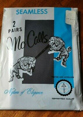2 Pairs Vintage Sealed Pack Seamless Nylon McCalls Stockings Off Black