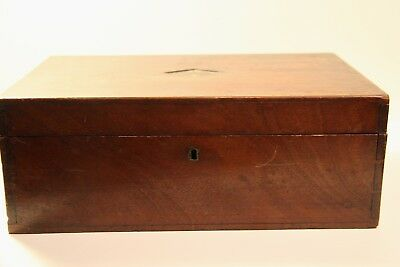 Antique Wooden Writing Box with Slope mechanism green felt interior.