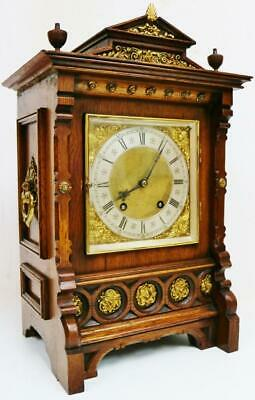 Antique Lenzkirch 1/4 Striking Carved Oak 8 Day Ting Tang Musical Bracket Clock