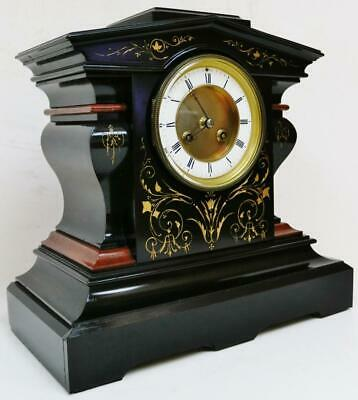 Unusual Design Antique French 8Day Slate & Marble Mantel Clock Etched Decoration
