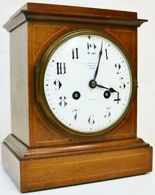 Beautiful Antique 19thC French 8 Day Gong Striking Inlaid Mahogany Mantel Clock