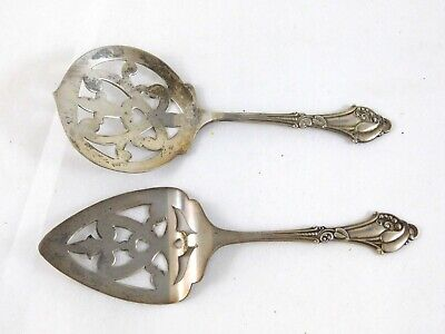 Antique Sterling Silver The Webster Company Pierced Mini Cake Server and Spoon