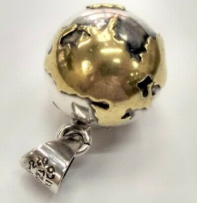 Vintage Mexico Two Tone Sterling Silver Detailed Globe Pendant Charm The World