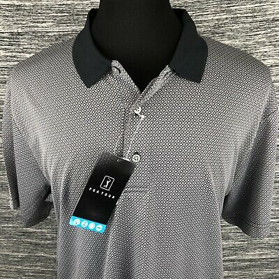 PGA Tour NEW Blue Mens Size Large L Athletic Fit Polo Rugby Shirt $60 #023