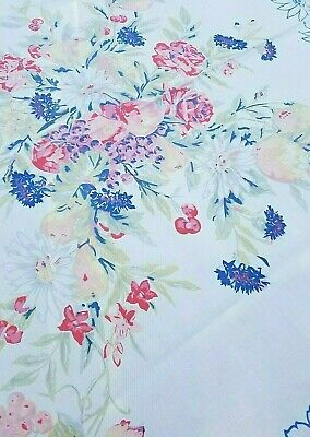 Vintage Blue PINK Yellow FLORAL Screen Print Kitchen Tablecloth ~ 54 x 68