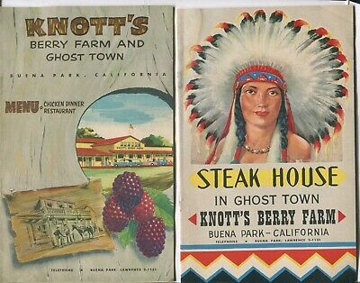 Lot of 3 Vtg 1958 Knotts Berry Farms Menu Chicken Dinner Steak House Restaurant